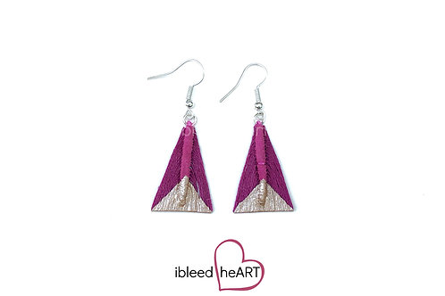 Rose Gold Dipped Dark Pink Triangle Shape - #tr48