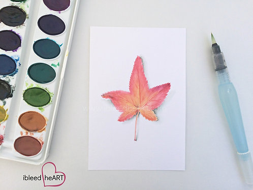 Red Fall Leaf Painting