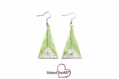 Metallic White Dipped Lime Green Triangle Shape - #tr42