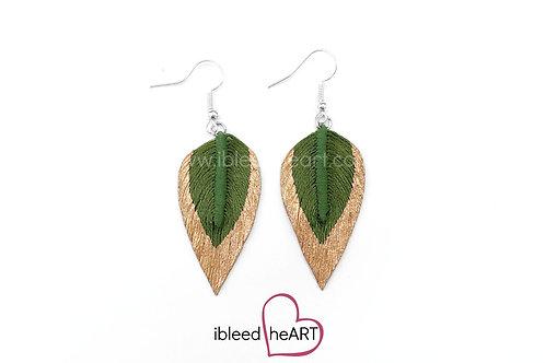 Copper Dipped Green Teardrop Shape - #236