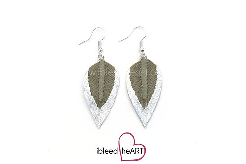 Metallic White Dipped Gray Green Long Teardrop Shape - #292
