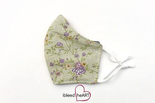 Green with Purple Flowers Washable Face Mask - Small