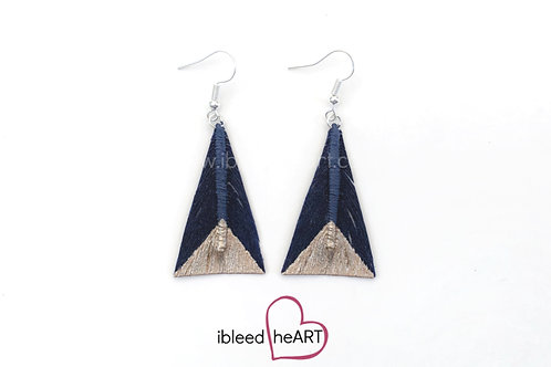 Rose Gold Dipped Dark Blue Triangle Shape - #tr18