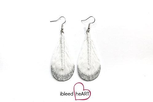 Silver Dipped White Teardrop Shape - #t39