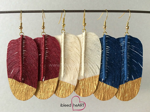 Patriotic Faux Feather Earring