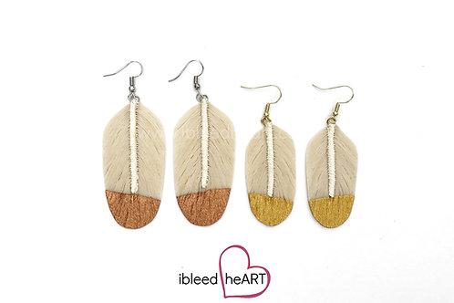 Cream Feather Earrings