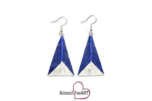 Metallic White Dipped Dark Blue Triangle Shape - #tr38