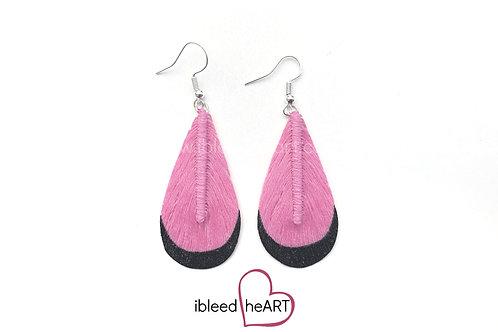 Black Dipped Pink Teardrop Shape - #t10