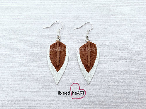 White Dipped Wood Brown Long Teardrop Shape - #85