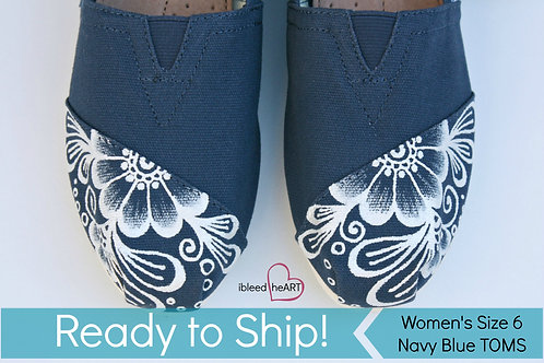 White Henna on Navy Blue Shoes - Women's 6