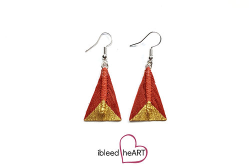 Gold Dipped Rusty Red Triangle Shape - #tr35