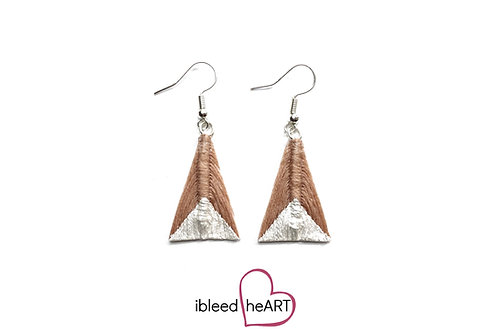 Metallic White Dipped Muted Pink Triangle Shape - #tr29