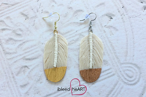 Cream Feather Earrings