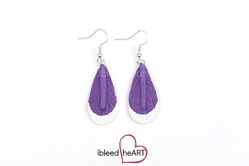 White Metallic Dipped Purple Teardrop Shape - #t29
