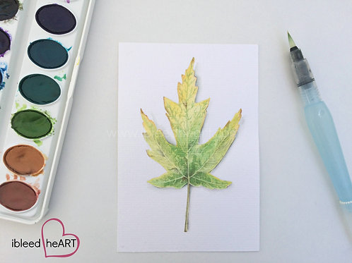 Green Fall Leaf Painting