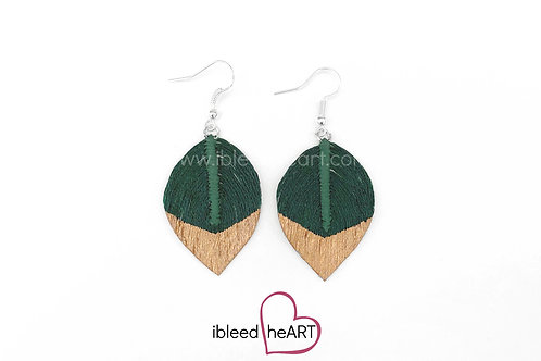 Copper Dipped Dark Green Short Teardrop Shape - #206