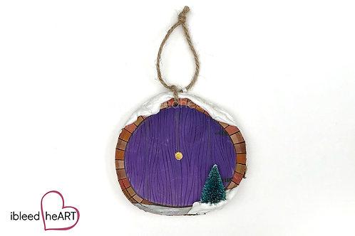 Purple Door with Tree - Bricks