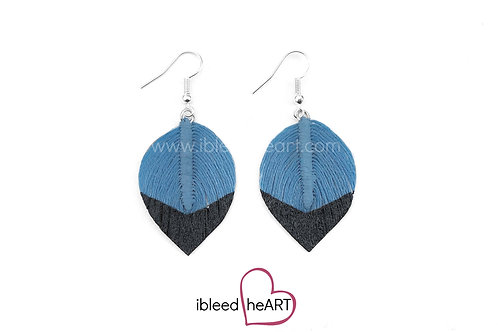 Black Dipped Blue Short Teardrop Shape - #165