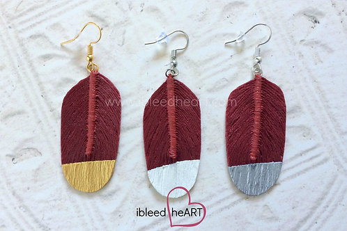 Dark Red Feather Earrings