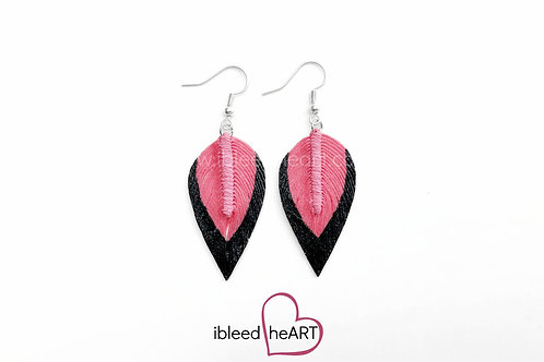 Black Dipped Bright Pink Teardrop Shape - #76