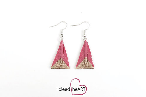 Sparkly Rose Gold Dipped Pink Triangle Shape - #tr23