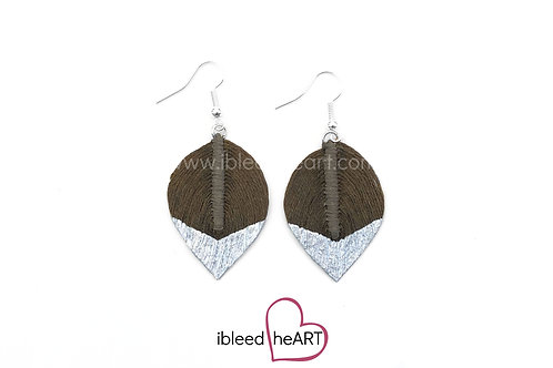 Silver Dipped Brown Short Teardrop Shape - #302