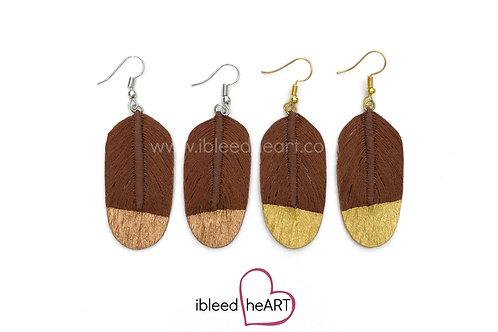Wood Brown Feather Earrings