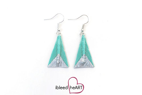 Silver Dipped Light Teal Triangle Shape - #tr14