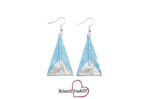 Silver Dipped Light Blue Triangle Shape - #tr39