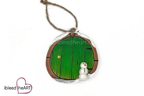Green Door with Snowman