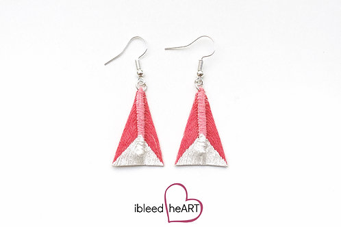 Metallic White Dipped Bright Pink Triangle Shape - #tr2