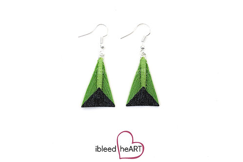 Black Glitter Dipped Lime Green Triangle Shape - #tr12