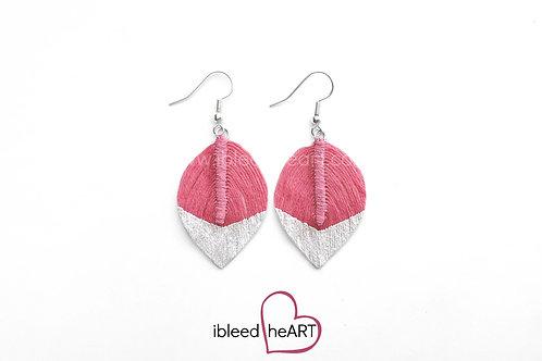 Metallic White Dipped Bright Pink Short Teardrop Shape - #77