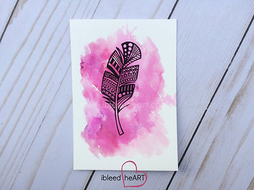 Pink Feather Painting