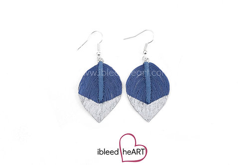 Silver Dipped Blue Short Teardrop Shape - #155