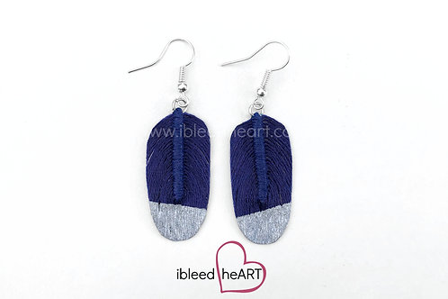 Silver Dipped Navy Blue Oval Shape - #144