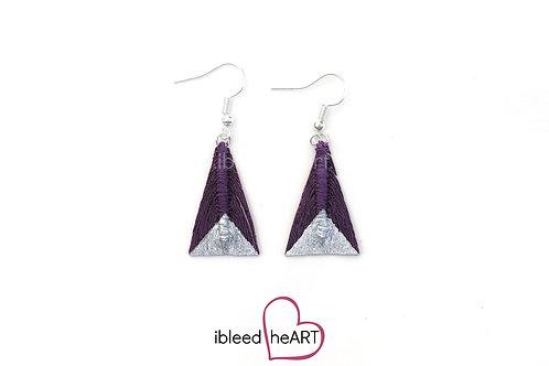 Silver Dipped Purple Maroon Triangle Shape - #tr21