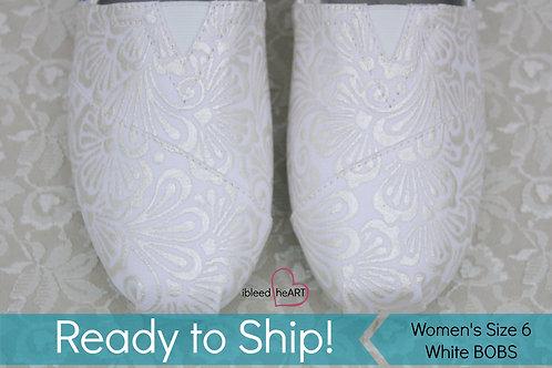 White Henna Wedding Shoes - Women's 6