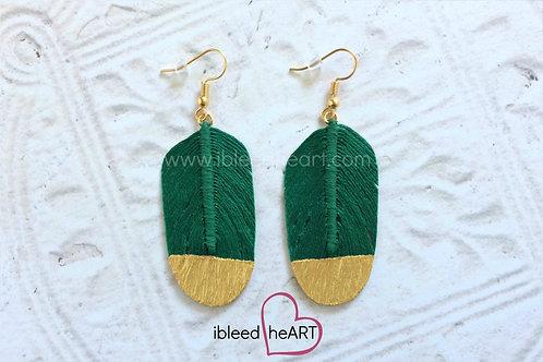 Dark Green Feather Earrings