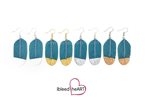 Light Blue Feather Earrings