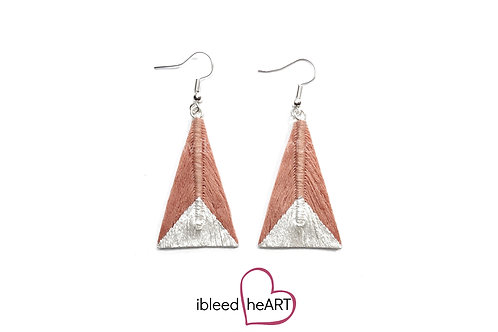 Metallic White Dipped Coral Pink Triangle Shape - #tr31