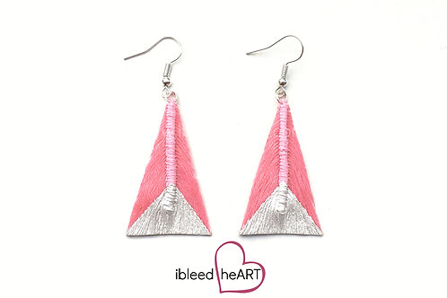 Metallic White Dipped Pink Triangle Shape - #tr7
