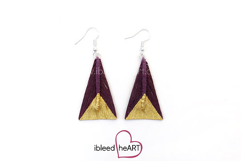 Gold Dipped Maroon Triangle Shape - #tr9