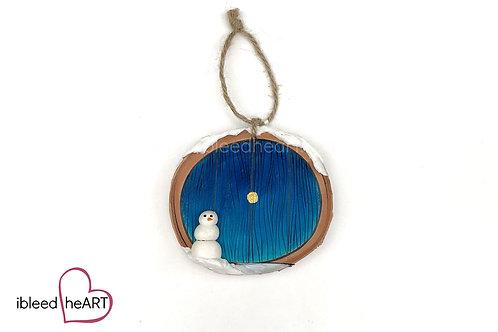 Blue Door with Snowman
