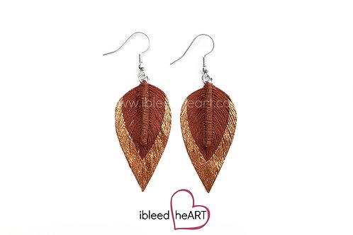 Copper Dipped Red Brown Long Teardrop Shape - #27
