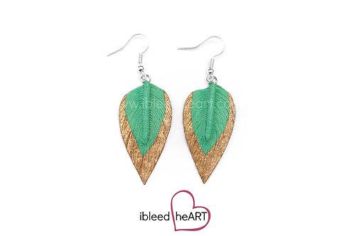 Copper Dipped Green Teardrop Shape - #202