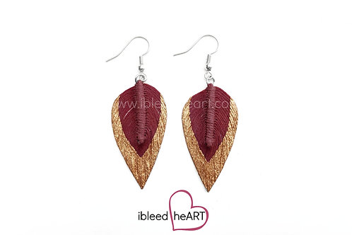 Copper Dipped Red Brown Long Teardrop Shape - #22