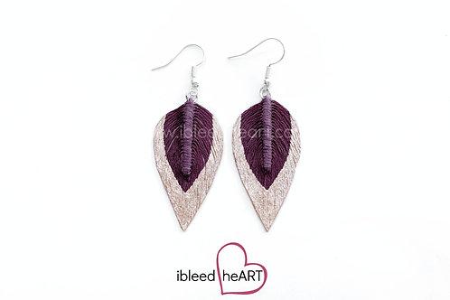 Rose Gold Dipped Purple Maroon Long Teardrop Shape - #125