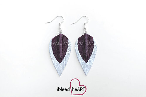 Metallic White Dipped Purple Maroon Teardrop Shape - #129