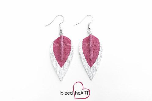 Metallic White Dipped Pink Teardrop Shape - #91